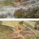 Restauro chiesa S. Teresa a Torino - particolare della cappella di Santa Teresa prima e dopo l'intervento di restauro